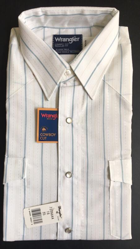 USA Vtg Wrangler Mens Pearl Snap L/S Shirt 16x35 Large Cowboy Cut X Long Tail