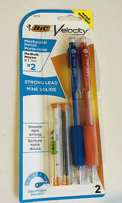 Bic Velocity Mechanical Pencils 2pk W Extra Lead Erasers Blue Orange New