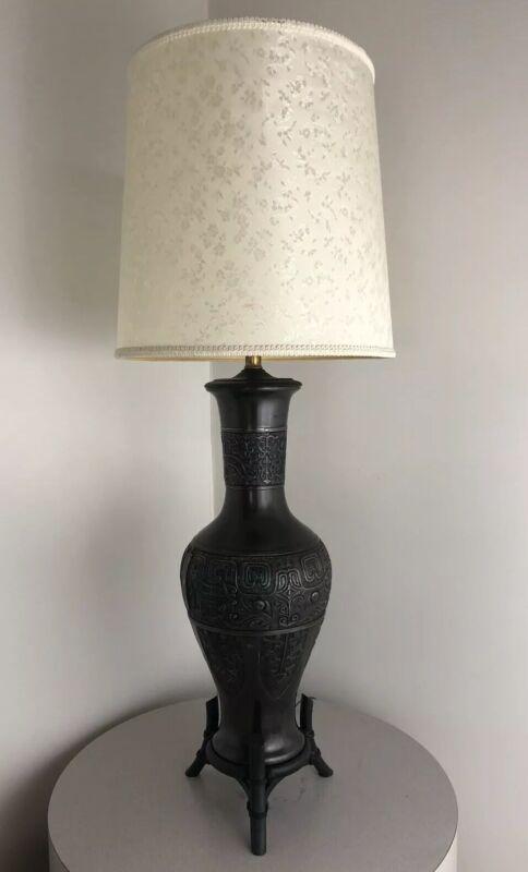 Vintage Antique Modern 1940s Brutalist Bronze Japanese Japan Lamp James Mont