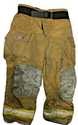 40x32 Globe Gxtreme Brown Firefighter Turnout Pants With Yellow Tape P1231