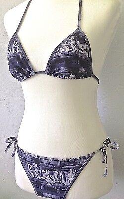**42* Jean Paul Gaultier Kama Sutra Halter String Bikini Swimsuit Tank Top Navy