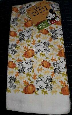 New Disney Mickey Mouse Fall Halloween Pumpkin Kitchen Dish Tea Towels Set of 2