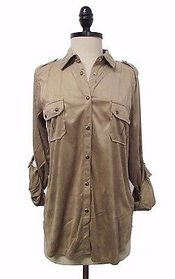 New Women Forever 21 Button Down Tunic 3 4 Sleeve Casual Blouse Top Sml