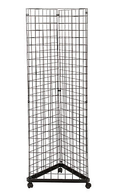 Wire Grid Triangle Tower Display Rack Casters Rolling Casters Black 2 X 6 H