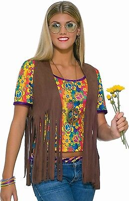 Womens 70s Faux Suede Brown Fringed Hippie Costume Vest 60's 70's    - Fast Ship
