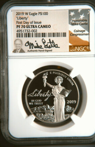 2019-W $100 Liberty Proof Platinum Eagle NGC PF70 UCAM First Day Castle Signed
