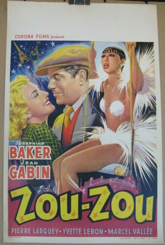 ZOU ZOU (1934) Original Belgian Re-Release Poster, Josephine Baker, Jean Gabin