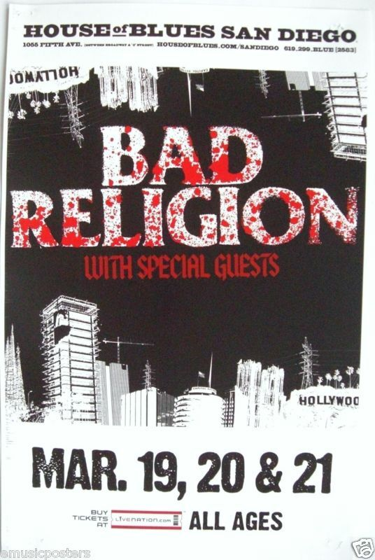 BAD RELIGION 2010 SAN DIEGO CONCERT TOUR POSTER - Punk Rock Music Legends