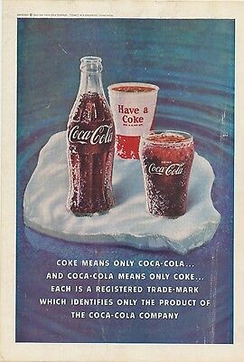 VINTAGE 1960 COCA-COLA Original Ad Ice Cold Classic Coke Glass Bottle Decor