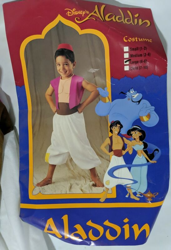 Disney Aladdin Child Boys Halloween Costume Large (4-6) Vintage 1993