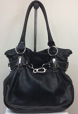 Women's B Makowsky Genuine Leather Purse Handbag Black Silver Hardware