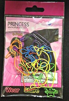 5 Packs of 6 Multi-Color Princess Wearable Paper Clips Silly Clipz (30 total)