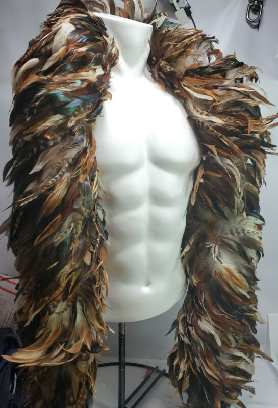 """Vintage Genuine Feather Boa 72"""" Long Costume handmade ostrich brown scarf multi"""