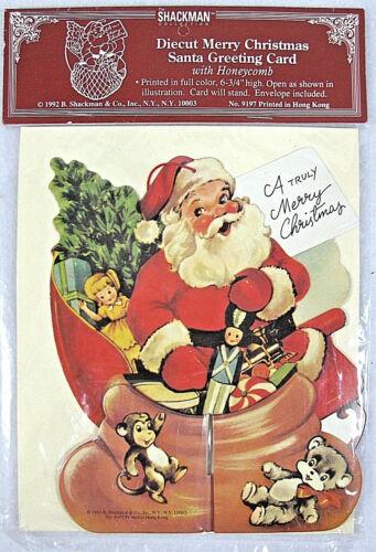 Shackman Diecut Merry Christmas Santa Greeting Card 1992 NIP