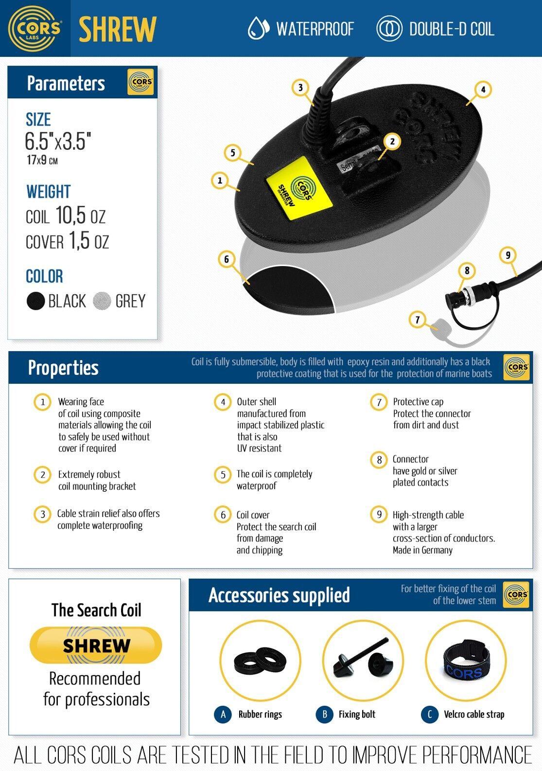 CORS Shrew 6.5 ″x 3.5″ DD Coil for Garrett AT MAX Metal Detector