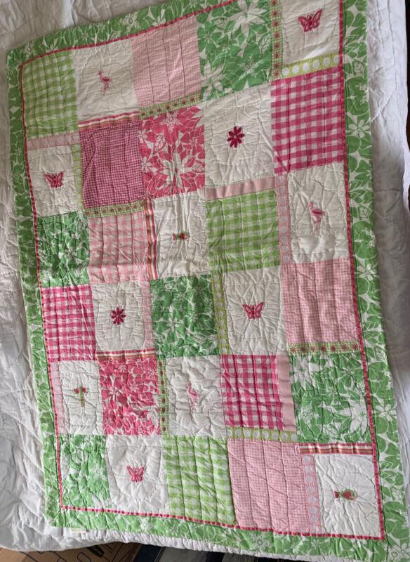 Pottery Barn Kids Patchwork Green pink white Flowers butterflies Crib Quilt