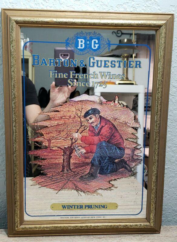 Vintage Barton & Guestier French Fine Wine Bar Mirror Advertisement