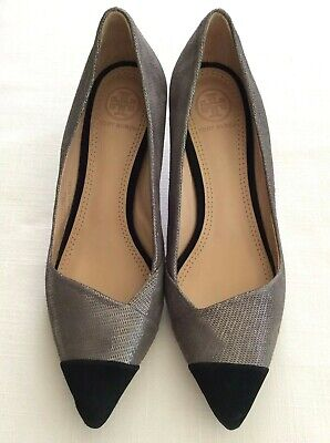 TORY BURCH Classic Kitten Heel Pumps Gray Silver Black Suede Leather Sz 5.5 M Black Suede Leather Classic Pumps