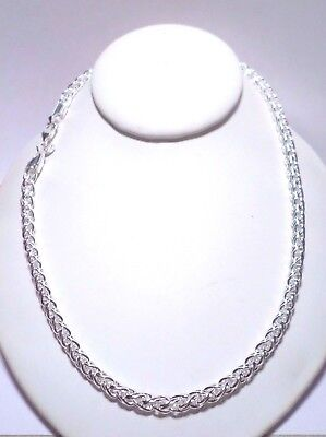 womens 6mm round spiga wheat rope 20 inch chain necklace 925 sterling silver (Round Spiga Chain)