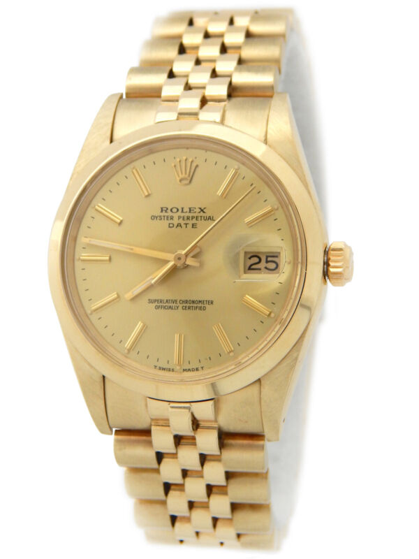 Rolex Date 15007 Mens 14k Yellow Gold Watch Jubilee Band Champagne Dial Chevy