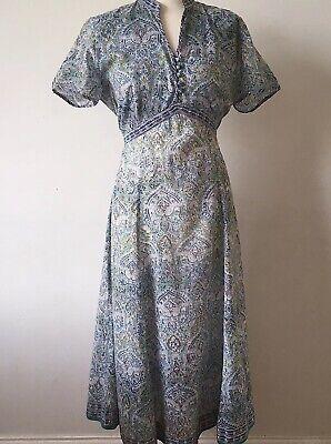Anokhi for East Artisan Block Print Dress Indian Cotton 14 Summer Dress