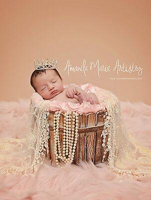 Mini Tiara Crown for Newborn- Baby Photo Prop Crystal and Rhinestone Spade #4021