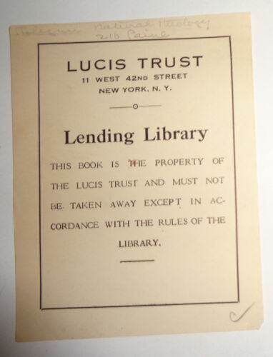 Lucis Trust Lending Library Bookplate [Alice Bailey Occult library] 1930s