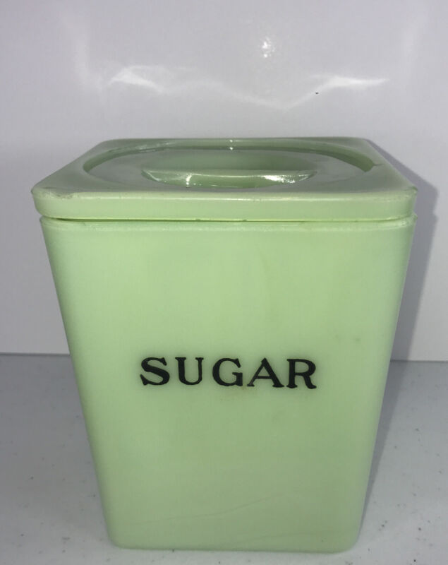 RARE Vintage Fire King Jadeite / Jadite Sugar Canister with Lid READ