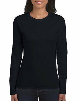 Gildan Women's Softstyle Long Sleeve T-Shirt, 2-Pack, Black,