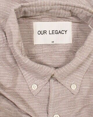 Mens Our Legacy Gray Woven Button Down Long Sleeve Shirt Size 48 / M Medium