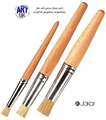 White Hog Bristle Brush (Jakar STENCIL BRUSHES white hog hair bristle art & craft oil acrylic powder)