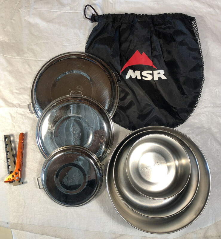MSR Cookset 3-Pots W/Lids & Lifter Steel Backpacking/Camping Cookware USED