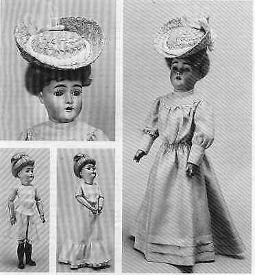 "18""ANTIQUE FRENCH FASHION LADY DOLL@1905 DRESS/UNDIES/SHOE&STOCKING&HAT PATTERN"