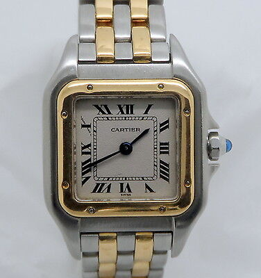 CARTIER PANTHERE MINI TWO TONE STEEL/18K YELLOW GOLD 2 ROWS 22MM WATCH - 1120