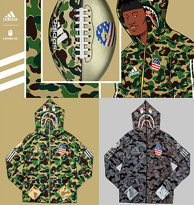 * A BATHING APE x adidas FOOTBALL COLLECTION Men's SHARK HOODIE BAPE 2color New