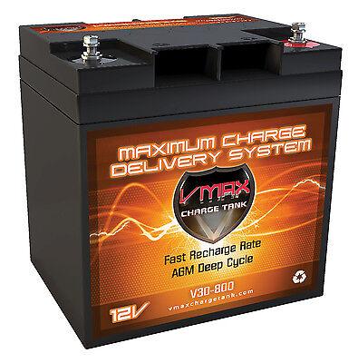 VMAX800 HILL-BILLY REM CONT. GOLF CART AGM DEEP CYCLE 12V 30Ah BATTERY VMAXTANKS