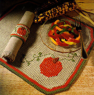 FALL Pumpkin Festival Placemat Set/Decor/Crochet Pattern INSTRUCTIONS ONLY - Fall Festival Decorations