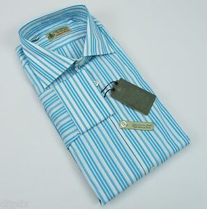 New $375 Luigi Borrelli Napoli Italy luxury handmade striped shirt US 16.5 NWT