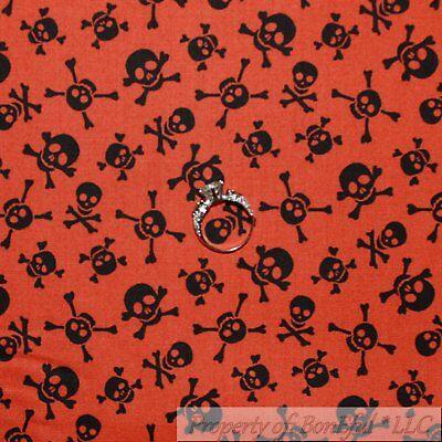 Boys Buccaneer Bones Pirate - BonEful Fabric FQ Cotton Quilt Orange Black Halloween Skull Skeleton Cross Bone
