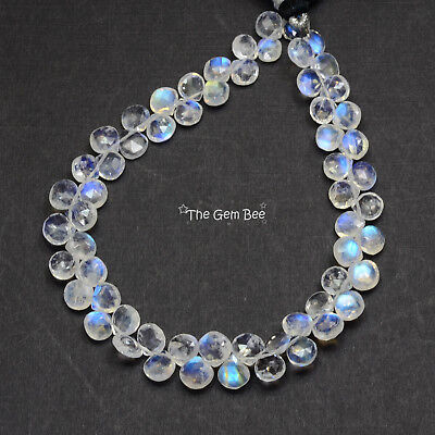 Rainbow Moonstone Faceted Heart Briolette Bead 8 inch strand