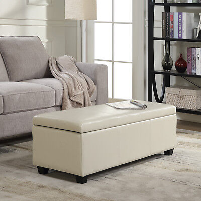 "48"" Elegant Faux Leather Solid Rectangular Storage Ottoman Bench Large, Cream"