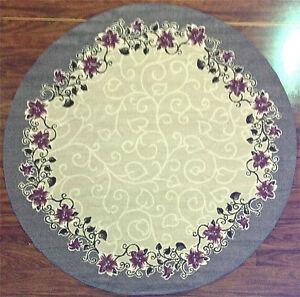 6 039 Round Kitchen Rug Floral Flowers Ivory Purple Blue