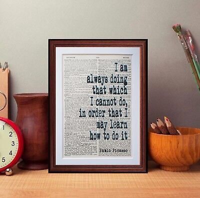 Pablo Picasso quote dictionary page literary art print book print
