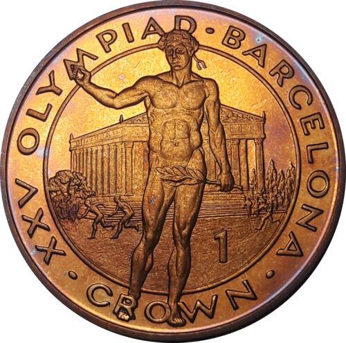 1992 GIBRALTAR 1 CROWN OLYMPIC VICTOR PROOF GEM TONED UNC COLOR BU GOLDEN (DR)