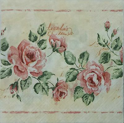 VINTAGE STYLE ROSE ROSES 2 single LUNCH SIZE paper napkins for decoupage 3-ply