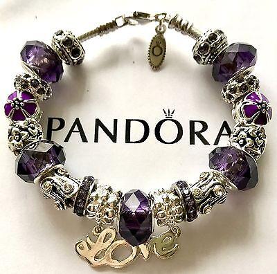 Authentic Pandora Silver Charm Bracelet With Love Purple European Charms