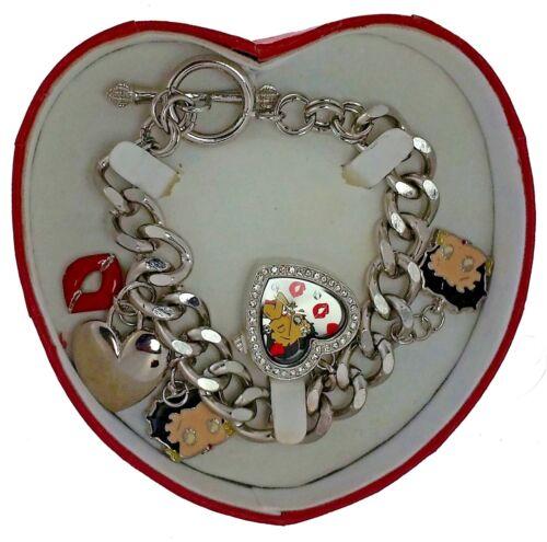 New Old Stock Betty Boop Charm Bracelet White Stones Heart Watch Original  Box