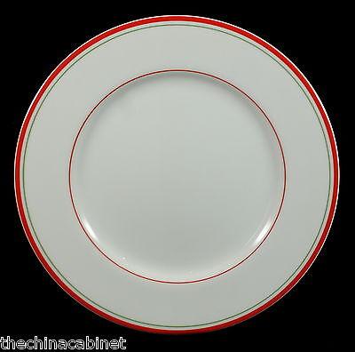TAITU RED GREEN WHITE STRIPE STRIPES CAPRI -- (4) SALAD PLATES PLATE SET - Green Plate Set