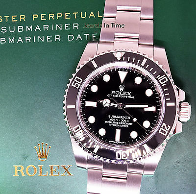 ** Rolex No Date Submariner Steel & Ceramic 40mm Watch Box/Papers 114060 **
