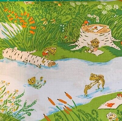Heather Ross FROG POND Blue Briar Rose Windham Cotton Quilting Fabric HALF YARD Frog Quilting Fabric